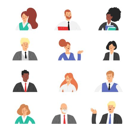 Set of business people avatars. Businessmen and businesswomen cartoon characters. Office team, mix race collective workers entrepreneurs. Men and women in suits standing together. Vector illustration.
