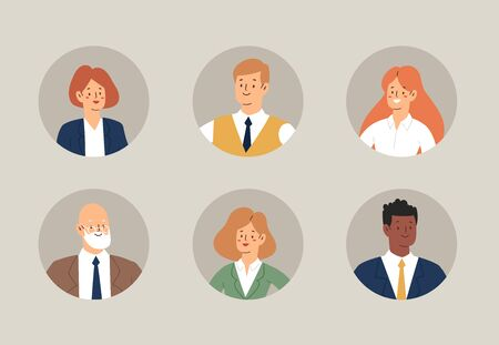 Set of business people avatars. Businessmen and businesswomen cartoon characters. Office team, mix race collective workers, entrepreneurs. Men and women in suits standing together. Vector illustration