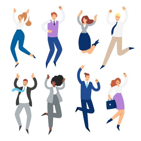 Set of business people jumping with raised hands in various poses. Happy office people cartoon characters. Office team, mix race collective workers, entrepreneurs. Success, winner, leadership concept Ilustración de vector