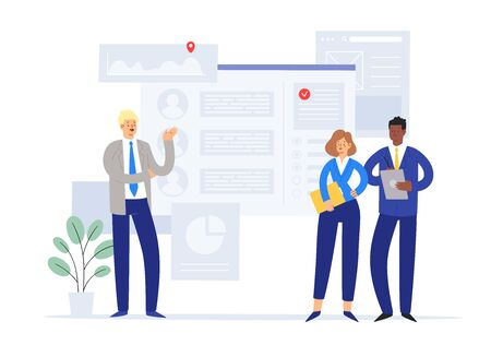 Business people vector illustration concept of brainstorming, generation of ideas, research and development department. For web banner, marketing material, business presentation, online advertising