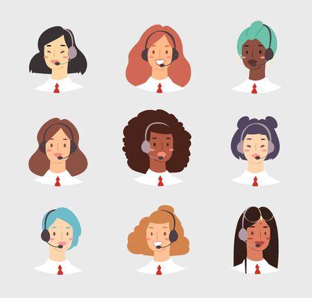 Cartoon avatar set of cute happy young women customer support phone operator with mix race nationality. Portrait of smiling girls, callcenter workers with headset. Client services and communication Çizim