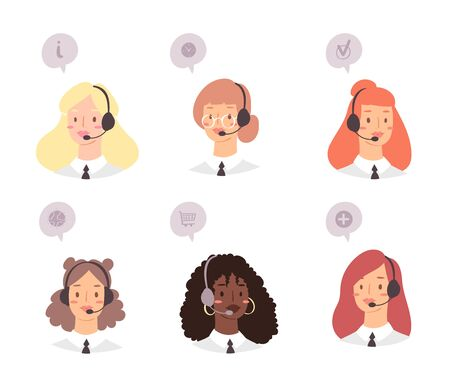 Cartoon avatar set of cute happy young women customer support phone operator with mix race nationality. Portrait of smiling girls, call center workers with headset and speech bubbles with web icons