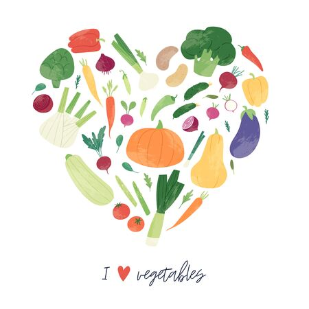 Hand drawn set of colorful fresh organic vegetables isolated on white background. Bundle of healthy vegetarian food, tasty vegan products use for cooking books, restaurant menu, posters, farm markets