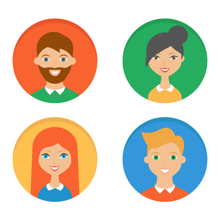 redhead woman: Colorful, flat vector characters icons set - men and women Illustration
