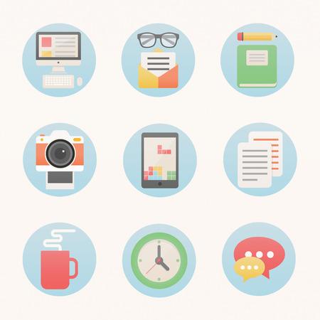 concepteur web: Ic�nes de style moderne plat fix�s pour le web - sc�nographe