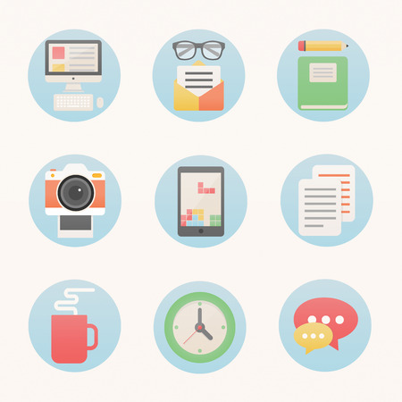 Modern flat style icons set for web - designer set Vector