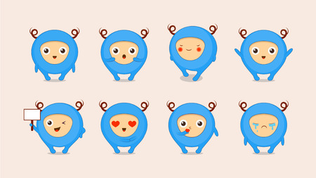 Cartoon cute monsters, flat style Vector