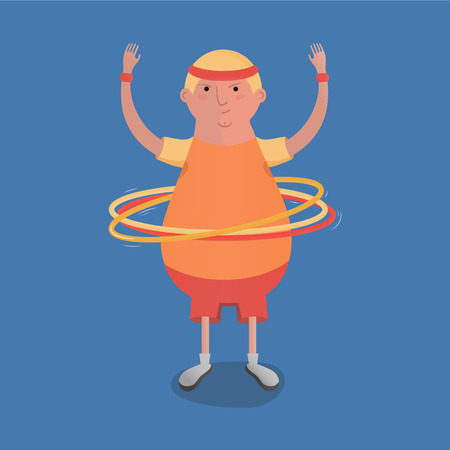 Man turns hoops illustration, funny character