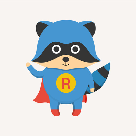 racoon: Flat style super hero raccoon