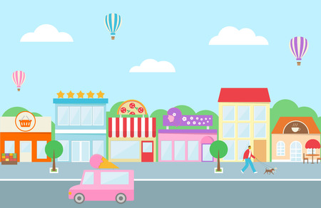 Market, hotel, buildings, cafe, shops, pizza and ice cream van in flat style