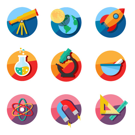 Set of science icons. Astronomy, chemistry, physics, maths.