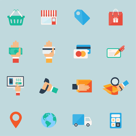 Shopping icons set. Colorful flat design. Vector