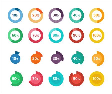 grafica de pastel: Conjunto de diagramas de círculo colorido para la infografía