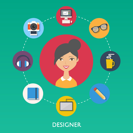 Designer, character illustration, icons. Vector flat style