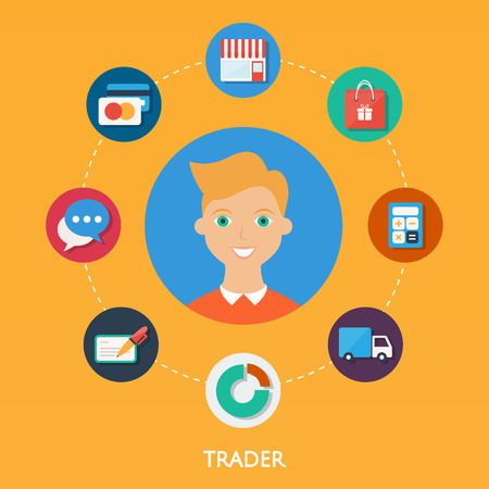 trader: Trader, character illustration, icons. Vector flat style
