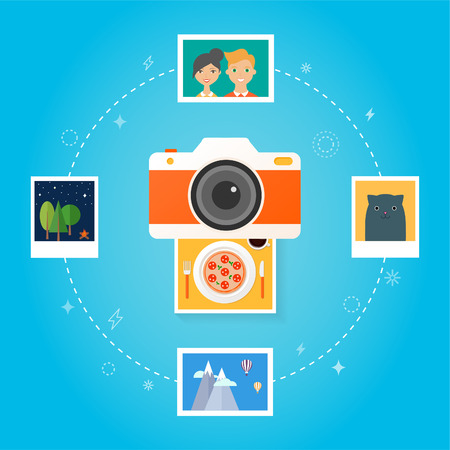 food photography: Photo camera concept Flat design style modern vector illustration