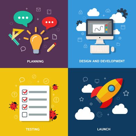 computer bug: Web development process concept - planning, design, development, testing, launch. Vector flat illustration, icons and infographics Illustration