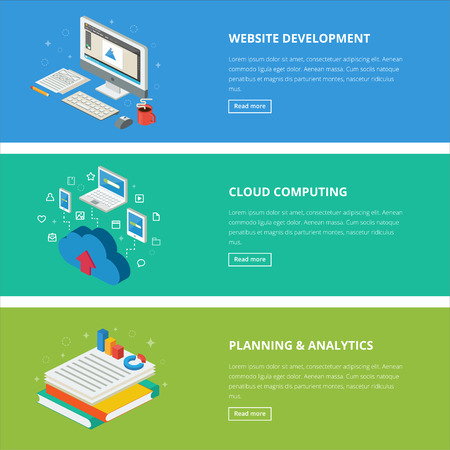 documentation: Flat design style modern vector illustration concept for web, management, infographic, development, design, finance and other business. Banners for websites. Isometric icons. Vector illustration. Illustration