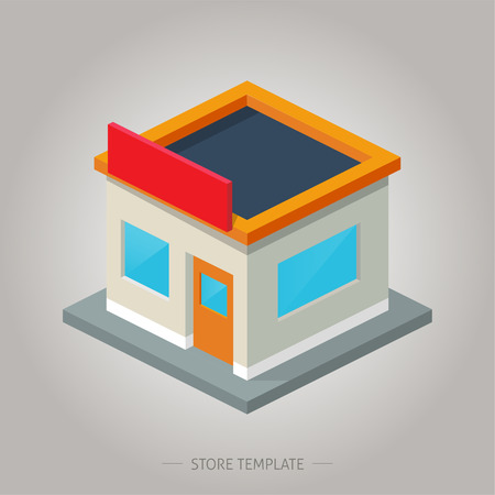 building trade: Store template for any business, modern style, isometric icon