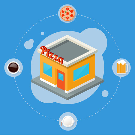 Pizza isometric building, flat icons, stylish background Vector