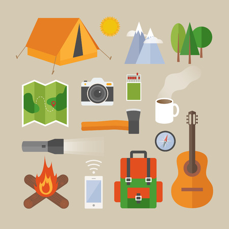 Flat design modern vector illustration concept of camping. Objects, icons, infographics elements