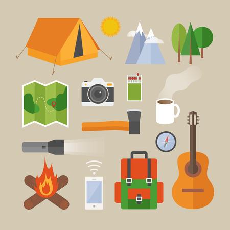 Platte ontwerp moderne vector illustratie concept van de camping. Objecten, iconen, infographics elementen