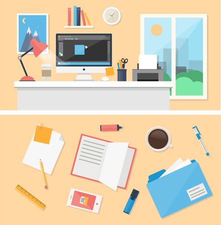 Office, workspace and workplace concepts for web, management, infographic, development, design. Flat design style modern vector illustration. Vector