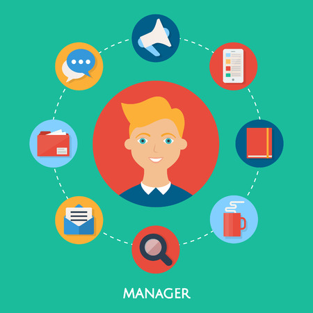 character illustration: Manager, character illustration, icons. Vector flat style Illustration