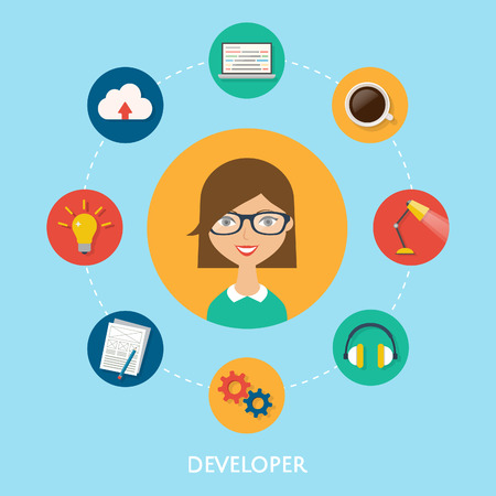 Web developer, character illustration, icons. Vector flat style Vector