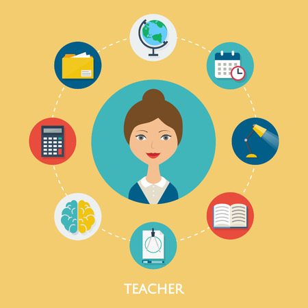 Teacher, character illustration, icons. Vector flat style
