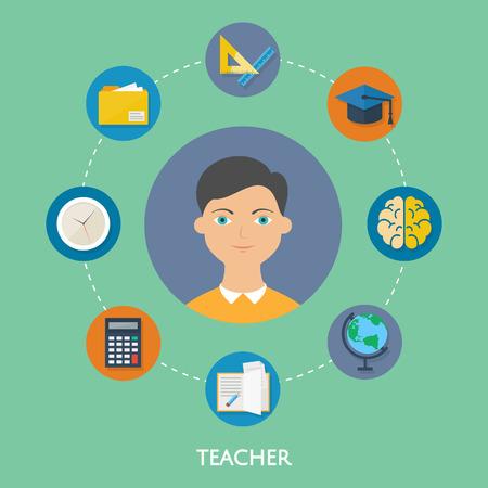 character illustration: Teacher, character illustration, icons. Vector flat style