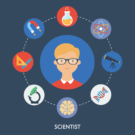 Scientist, character illustration, icons. Vector flat style Vector
