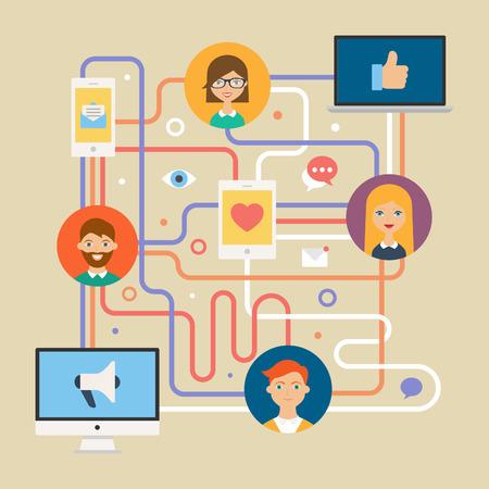 Sociaal netwerk concept voor web. Vector illustratie, infographics elementen, vlakke pictogrammen