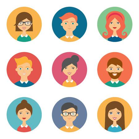 carita feliz: Conjunto de avatares. Ilustración del vector, iconos planos. Personajes para web