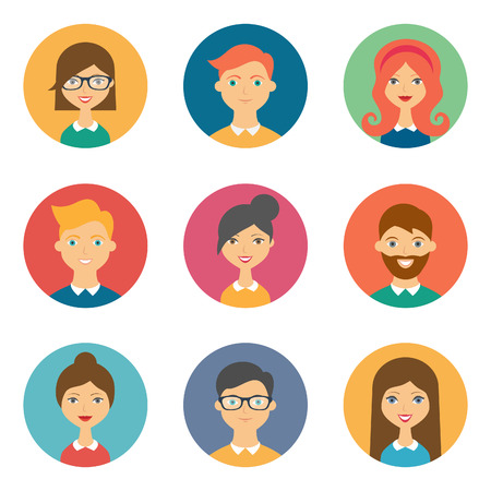 male face profile: Set of avatars. Vector illustration, flat icons. Characters for web