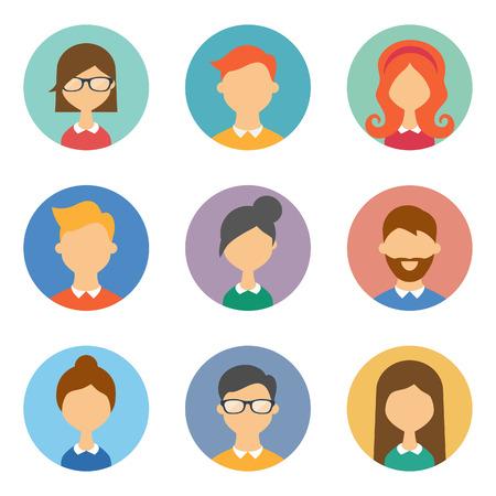 Set van avatars. Vector illustratie, vlakke pictogrammen. Tekens voor web