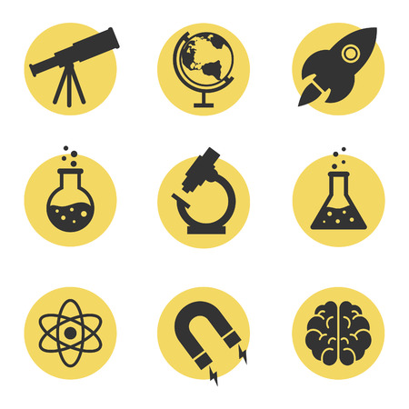 Set of science icons, black silhouettes on the yellow circles. Astronomy, chemistry, physics, maths. Vector
