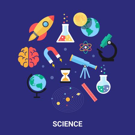 Wetenschap vector illustratie, vlakke pictogrammen. Sterrenkunde, scheikunde, natuurkunde, wiskunde, biologie, zonnestelsel. Stock Illustratie