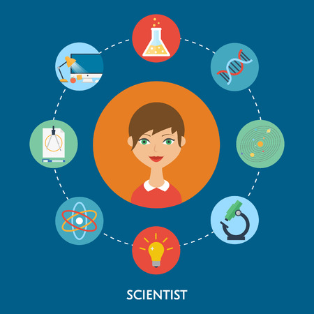 Scientist character, education icons.  Vector