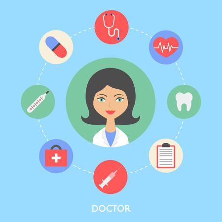 professional occupation: Doctor, character illustration, icons.