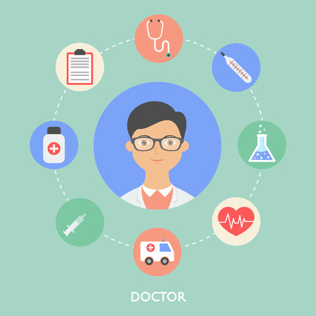 young male doctor: Doctor, character illustration, icons.
