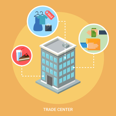 Trade center isometric building, flat icons, stylish background Vector