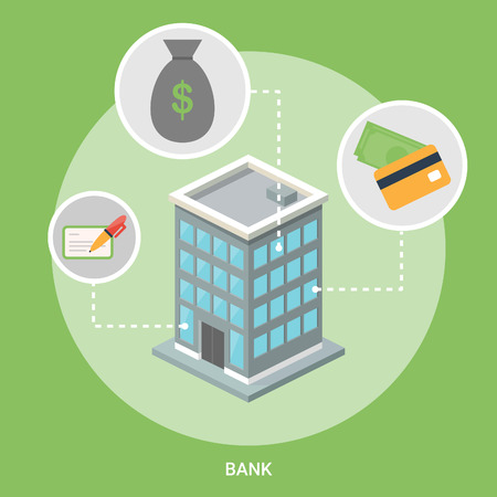 Bank isometric building, flat icons Vector
