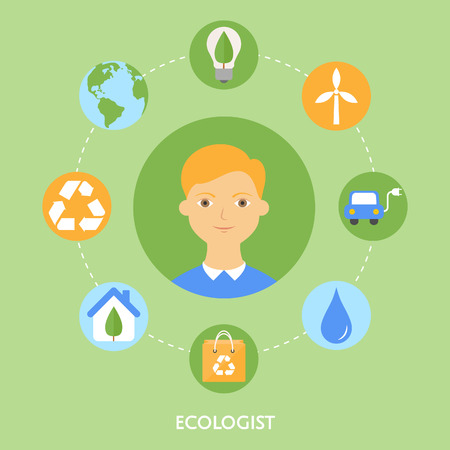 Ecologist character illustration, icons. Vector