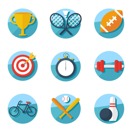 Sport icons, flat style Vector