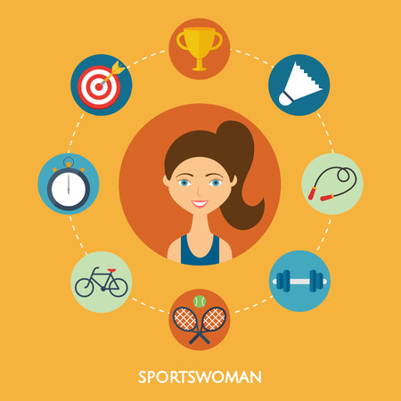 sportswoman: Sportswoman character sport icons. Flat style