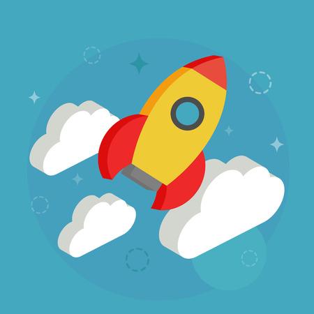 Rocket. Isometric style, vector illustration