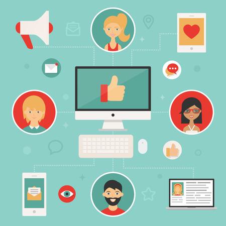 management concept: Concepto de gesti�n de medios de comunicaci�n social Vectores