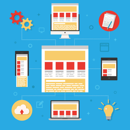 scalable: Responsive design concept flat icons illustration