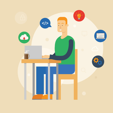 Vector illustration of a programmer sitting at the desk and working on laptop in the office. Flat style Vector